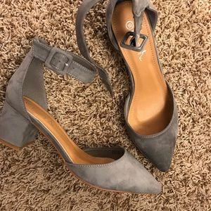 Grey suede like block heels